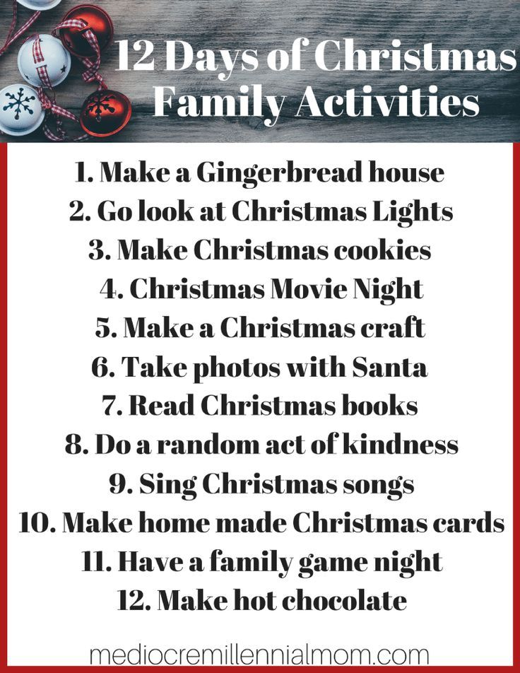 12 Days Of Christmas Family Activities Fun Things To Do With Your For