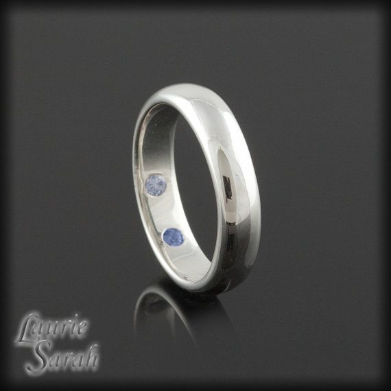 Mans White Gold Band With Hidden Stones  by LaurieSarahDesigns, $1167.75 Think this would be sweet with an emerald inside...