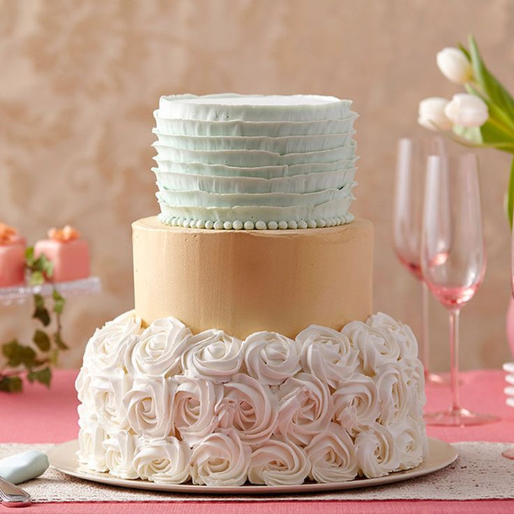 Choose a wedding cake that unites the rippling textures of ribbons and rosettes with a sparkling center tier. Create the golden shimmer with Color Mist Food Color Spray and the soft green shade using the Color Right Performance Color System.
