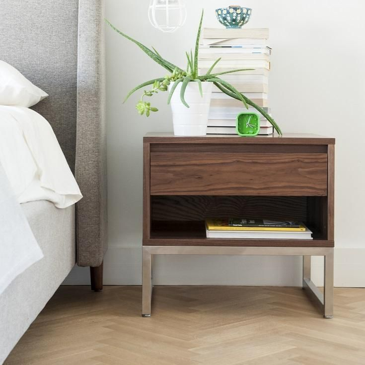 Gus Annex End Table In Walnut Veneer #globewest #bedroom #endtable