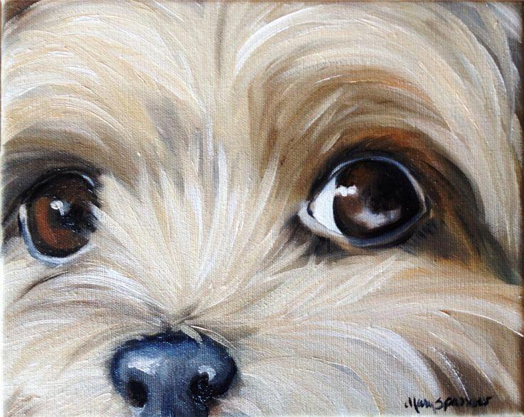 paintings of yorkies | ... yorkshire terrier teacup puppy dog oil painting YORKIE art ORIGINAL♥•♥•♥Those Eyes!