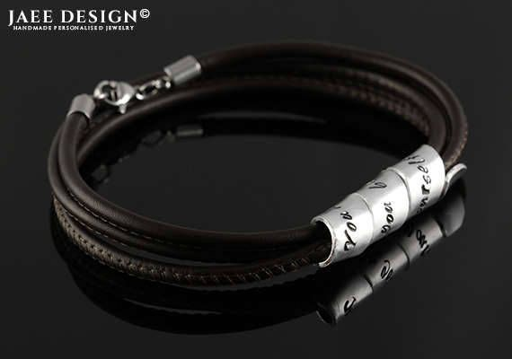 Men leather bracelet Personalized gift Custom jewelry Fathers day Anniversary gift Hand stamped Secret message Scroll bracelet For husband by Jaeedesign on Etsy https://www.etsy.com/listing/525841527/men-leather-bracelet-personalized-gift