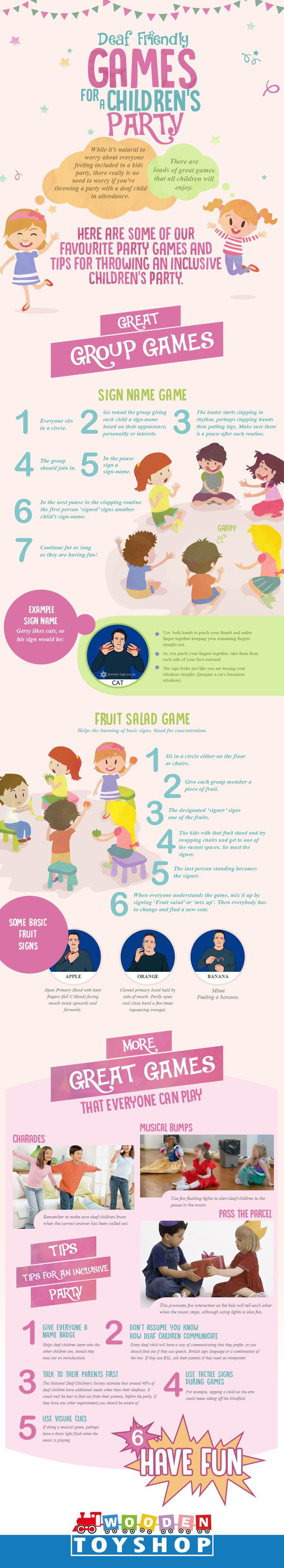 Deaf-friendly Games For A Children Party #Infographic #Children #Party