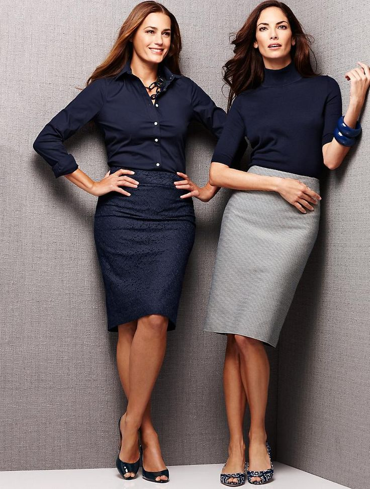 Talbots blue skirts- like the one on the right.  Turtleneck and grey skirt looks very nice.