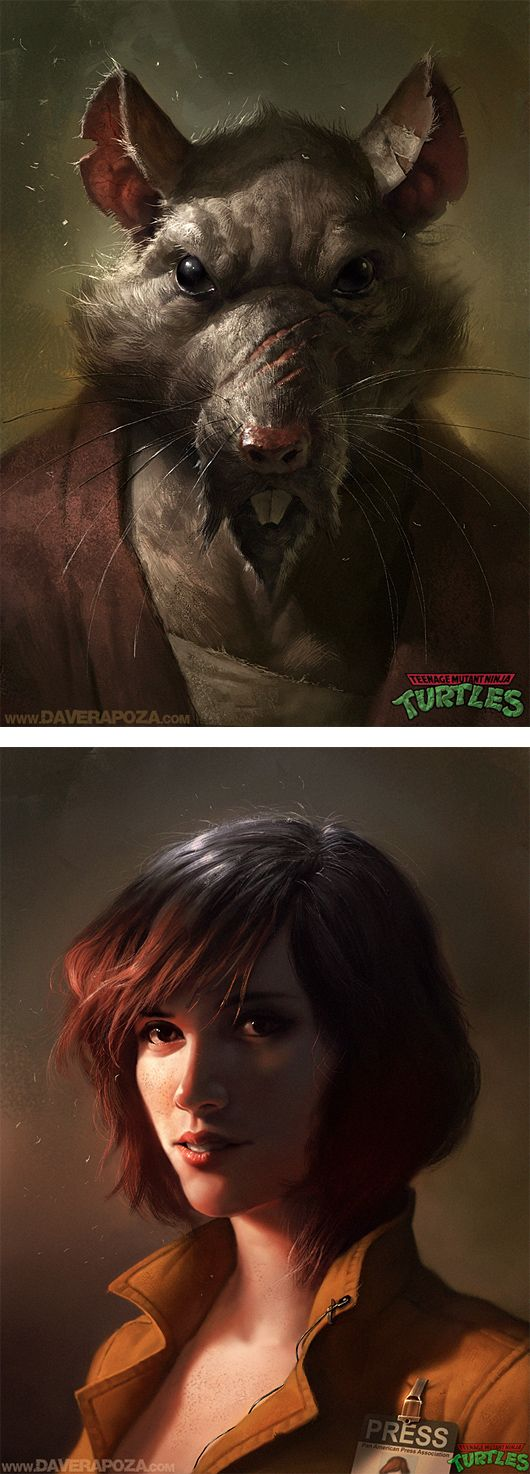 Boston-based freelance artist Dave Rapoza explores a darker side of the Ninja Turtles in these hyperrealistic digital paintings.