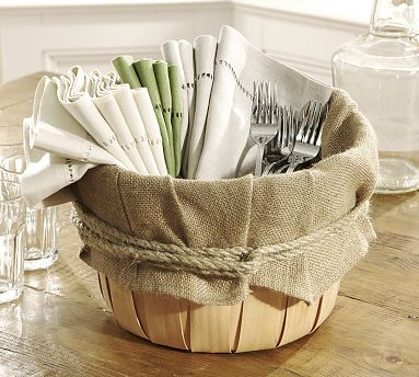 Jute basket. Great display for a casual brunch or dinner party
