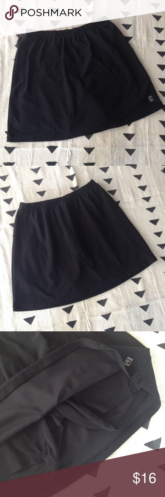 Nike Dri Fit skirt skort black stretch small Soft and stretchy Nike skirt-short combo. All black. In very good condition. Measurements are available in the photos - the waistband is quite stretchy. Size small. Check out my other listings for cute activewear! Nike Skirts