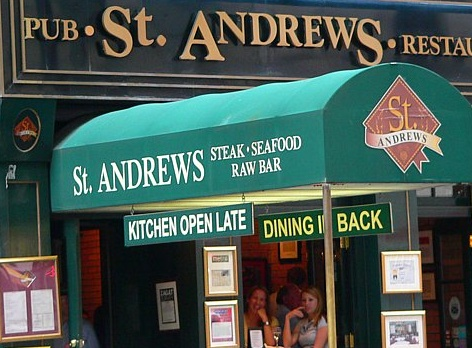 St Andrews, Theater District, NYC.  Amazing deal: $60 for app, entree, dessert and UNLIMITED wine and beer.  I honestly don't know why they keep letting us come back, but it has been a group favorite for years now :-)