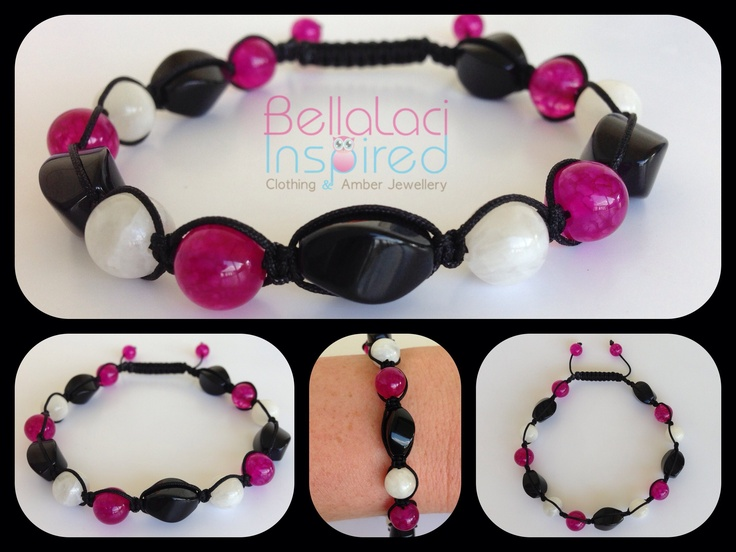 Fuschia Cracked Agate, Moonstone & Black Onyx Twists  www.bellalaciinspired.com.au