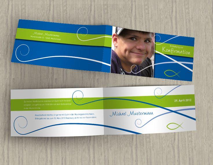 Schöne Einladungskarte zur Konfirmation oder Kommunion mit Fisch-Motiv in blau-grün-weiss