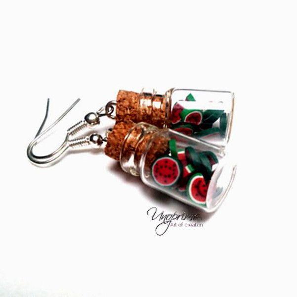 Boucles d'oreilles, Boucles d'oreilles bouteilles pastèque melon d'eau est une création orginale de unoprimo-pl sur DaWanda