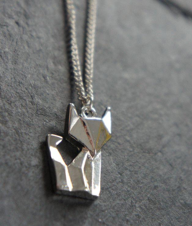 Ketten mittellang - ♥ Kette mit Origami Fuchs silber - ein Designerstück von zuckerputzig bei DaWanda