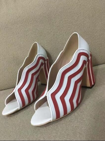 >> Click to Buy << Novelty design luxury women shoes sexy pumps pee toe slio-on ladies dress shoes red and white stripes thick heel shoes high heel #Affiliate