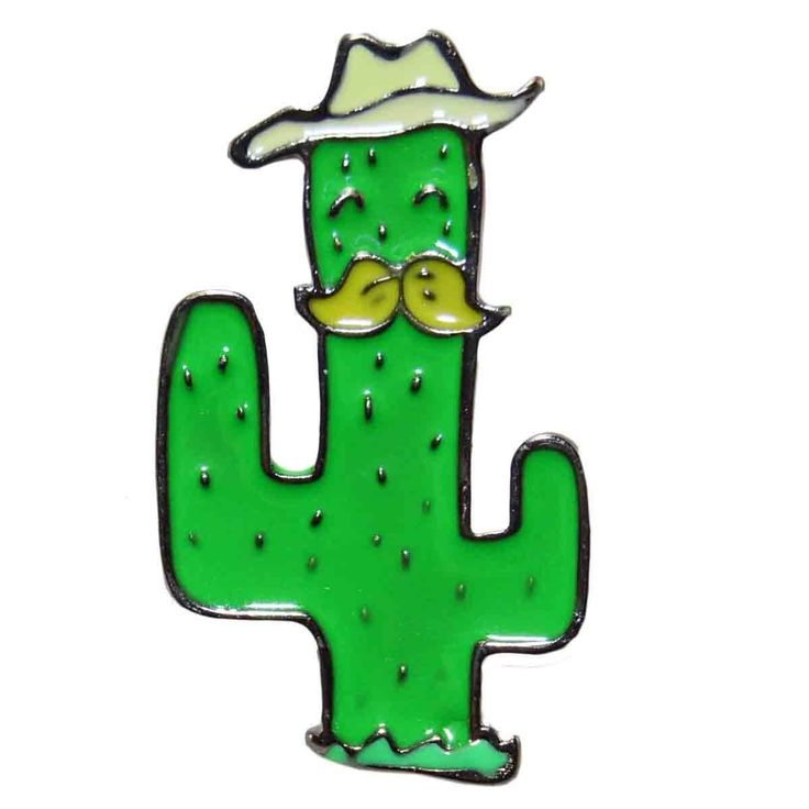 Enamel Pin - Cactus with Moustache and Hat