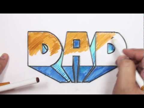 How to Draw 3D Block Letters - DAD in One-Point Perspective,