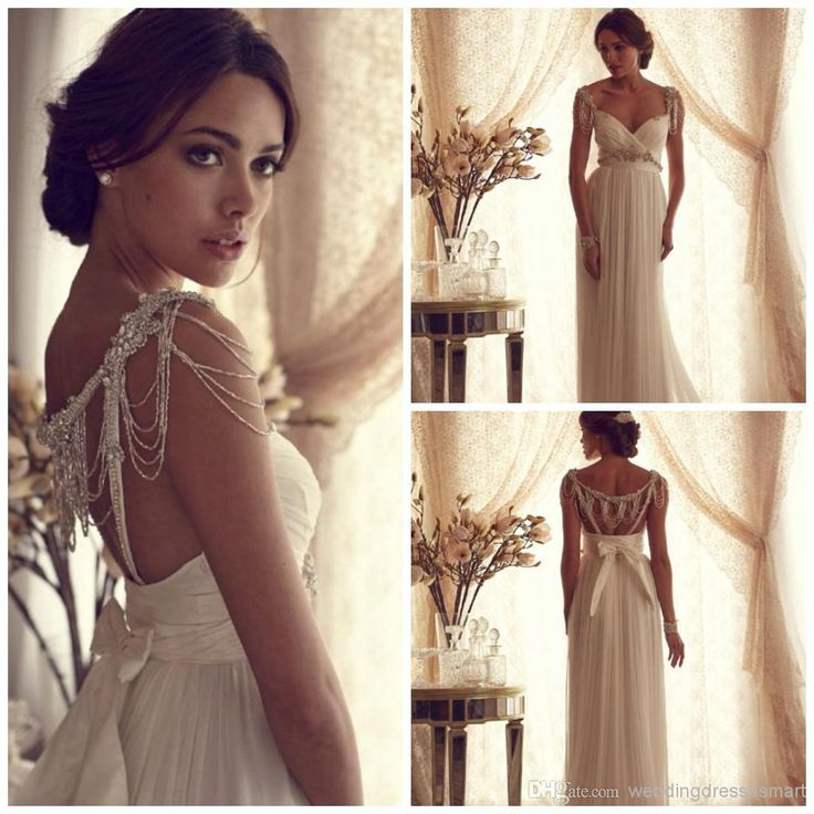 2016 Goddess Beading Wedding Dresses Chiffon Long Column Elegant Bow Backless Pearls Sequins Crystals Beach Bridal Gowns Greek Stylish Hot