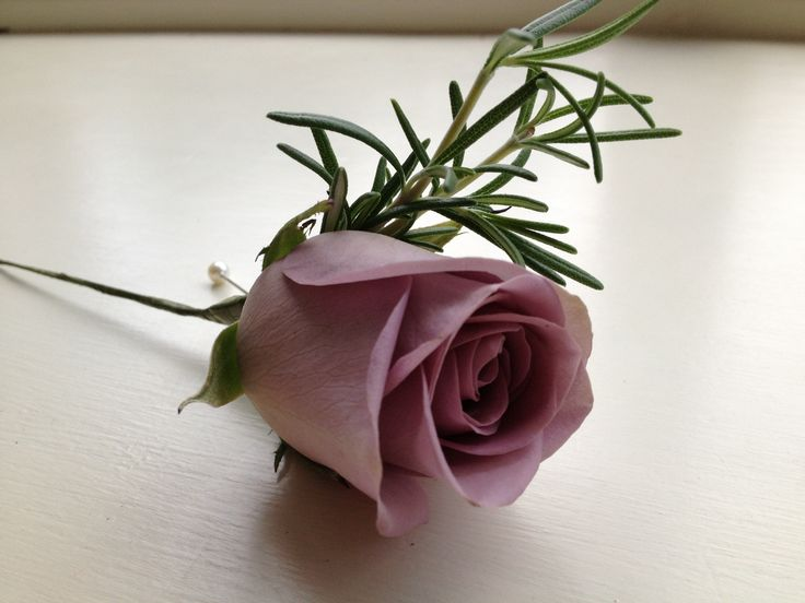Amnesia Rose Buttonhole finished with Rosemary
