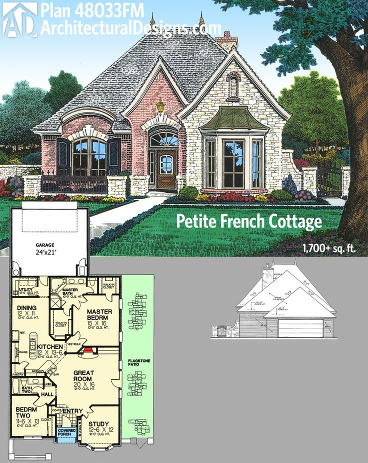 Architectural Designs Petite French Country House Plan 48033FM gives you over 1,700 square feet of living in a tidy floor plan with a flagstone patio along one side. Ready when you are. Where do YOU want to build?