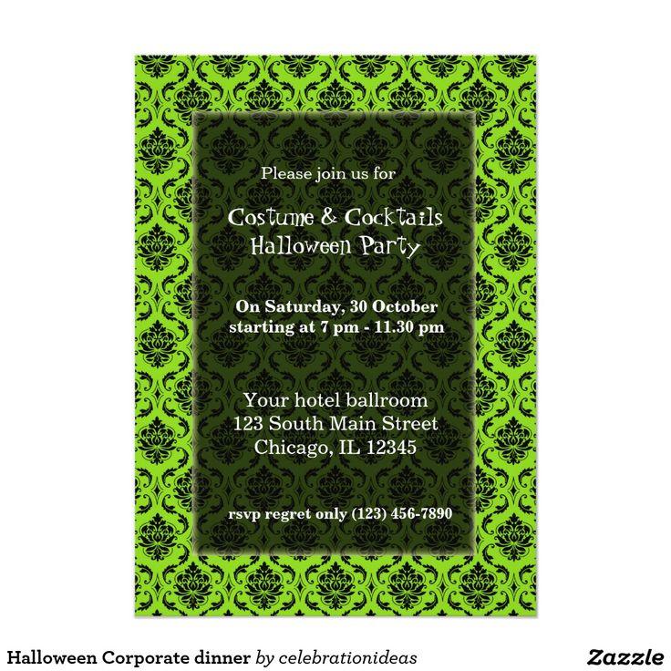 96 best halloween chic invitations images on pinterest halloween halloween corporate dinner 5x7 paper invitation card stopboris Choice Image