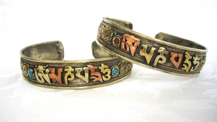 Bracciale Tibetano Tre Metalli con Mantra