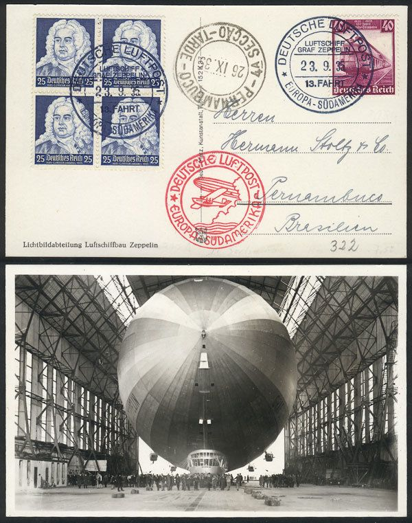 German Empire (1933/45, Third Reich), PC with beautiful view of ZEPPELIN in hangar, dispatched onboard the airship on 23/SE/1935 to Brazil, excellent quality! Starting Price (11/2016): 45 EUR.