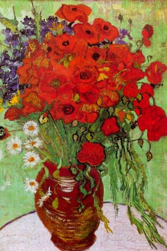Vincent van Gogh Still Life Red Poppies and Daisies Poster Photo by Vincent van Gogh at AllPosters.com