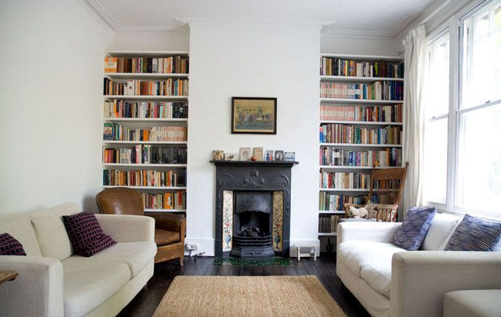 Shelving idea for the wall with the fireplace maybe for Bookshelves next to fireplace