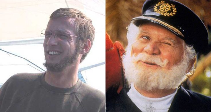 Man with pube beard next to Captain Birdseye