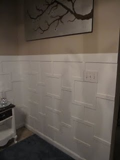 a different kind of wainscoting: Dining Rooms, Wainscoting Ideas, Bathroom Wall, Master Bedrooms, Cement Wall, House, Master Bathroom, Diy Wainscoting, Wainscoting Design
