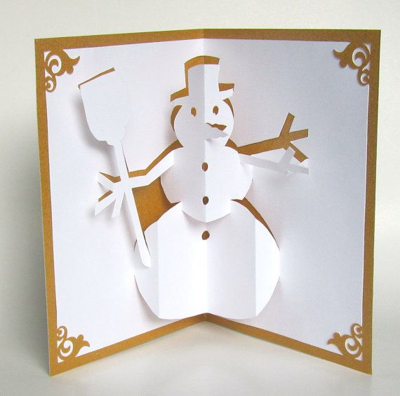 SNOWMAN 3D Pop Up Greeting Card Home Décor Handmade Cut by Hand Origamic Architecture in White and Metallic Shimmery GOLD.                                                                                                                                                                                 Más