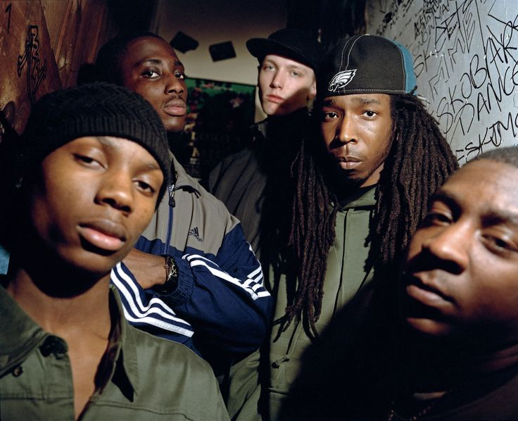 Jammer (centre, in focus) and his producers, Leytonstone. 2005