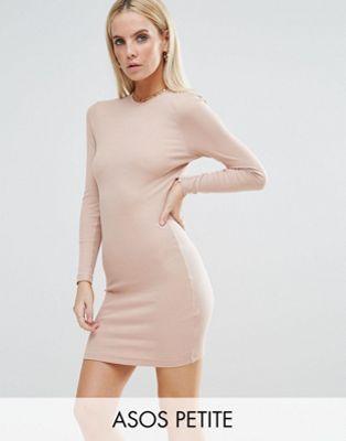 Облегающее платье мини в рубчик с длинными рукавами ASOS PETITE