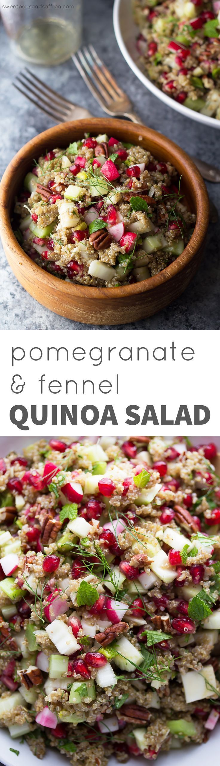 Pomegranate Fennel Quinoa Salad, an easy, healthy make ahead salad ...