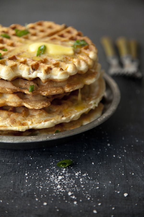 // savory waffles with pancetta and green onions >> Not my style, but I can think of a few people that would love them!