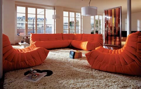 ligne roset(リーンロゼ)社 TOGO(トーゴ)with fabulous shagpile carpet! yeah baby!