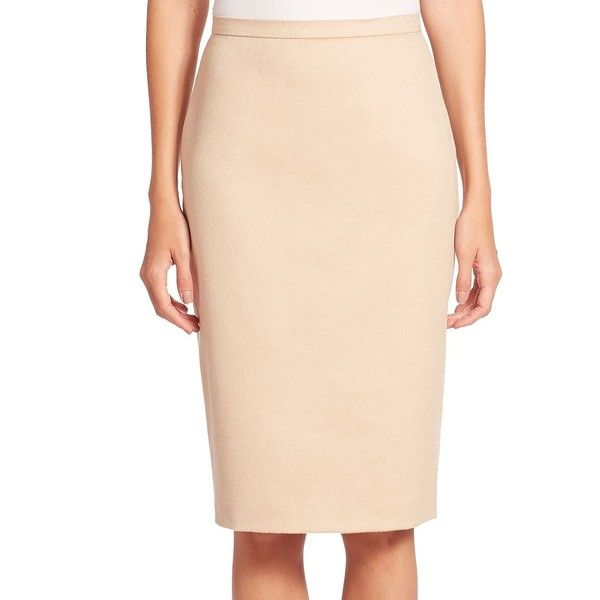 Max Mara Ronco Pencil Skirt ($199) ❤ liked on Polyvore featuring skirts, long skirts, beige pencil skirt, long beige skirt, beige skirt and pencil skirts