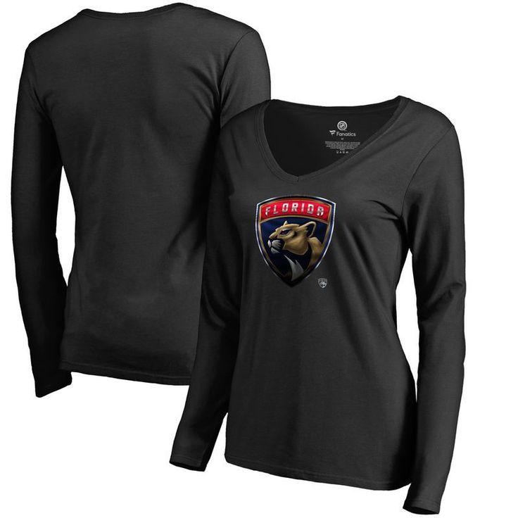 Florida Panthers Fanatics Branded Women's Midnight Mascot Long Sleeve V-Neck T-Shirt - Black
