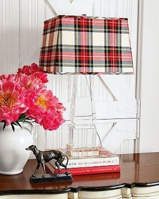 tartan lampshade for Christmas - would be fun to change out the shade for the holidays.