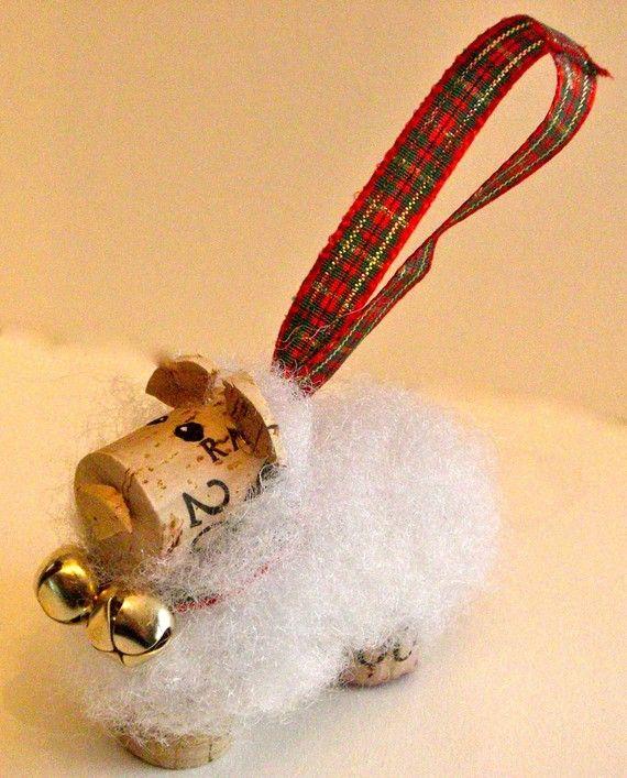 "3 Cork Sheep Ornaments ................. #GlobeTripper® | https://www.globe-tripper.com | ""Home-made Hospitality"" | http://globe-tripper.tumblr.com"