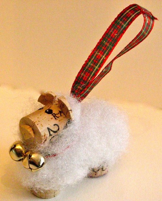 Woolly cork sheep tree ornament for Sheep christmas ornament craft