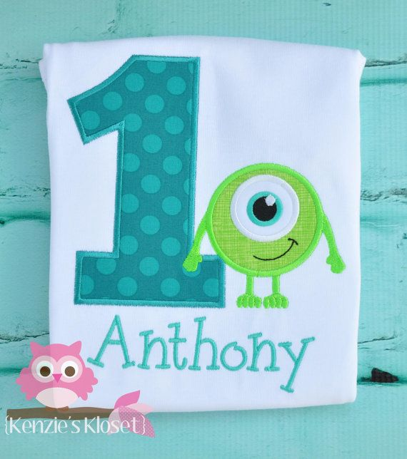 """Monsters Inc - Monsters  University """"Inspired"""" Applique 1st Birthday Shirt or Bodysuit/Onesie Chevron Personalized appliqué on Etsy, $24.00"""