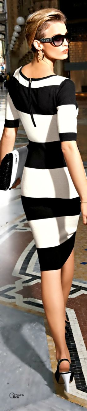 Fashion ● On The Street black and white striped dress/ fall autumn women fashion outfit clothing style apparel @roressclothes closet ideas
