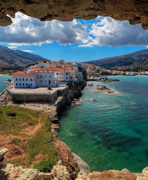 The beautiful town of Chora in Andros island, Cyclades, Greece