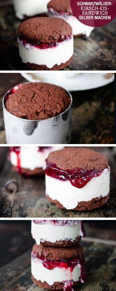 Rezept: Schwarzwälder-Kirsch-Eis-Sandwich selber machen / recipe: cherry-ice-cream-sandwich via http://DaWanda.com