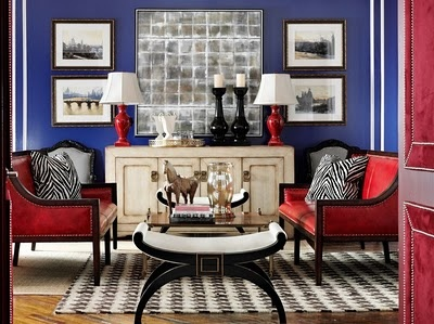 Charmant Red And Blue Living Room