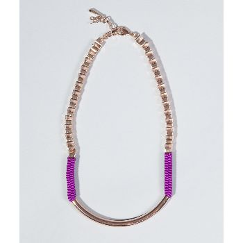 John & Pearl  Violet Rollo Necklace: A brand straight out of Scotland, John & Pearl bring originality and flair to the jewellery market with their creative but wearable pieces. Gold plated chain, fine violet grosgrain ribbon links, cute and quirky.