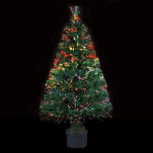 DECO NOEL – Sapin de Noël artificiel lumineux en fibre optique livré dans son pot – Lumière à variation de couleurs – Hauteur 90cm