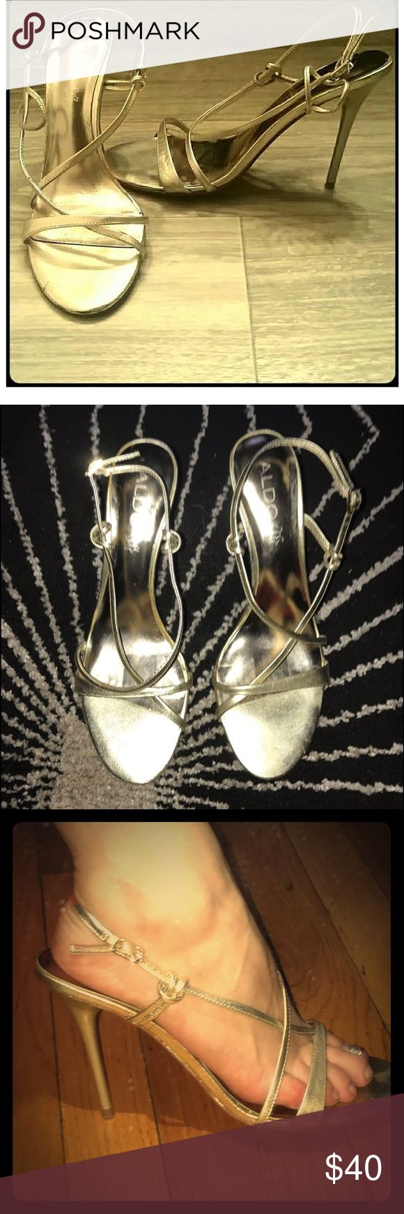 """✨Aldo, Formal Gold Strappy Sandal, 4"""" Pumps💫⭐️🥂 ALDO, Beautiful, Metallic Gold, Formal Stappy Sandal Pumps. Gently Worn, Size 8, Ready for a New Occasion🌟💛🥂🥂💥🔥 Aldo Shoes Heels"""