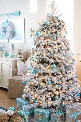 beach house decorating 73 blue christmas tree decorations beach christmas decor frosted christmas tree - Christmas Decorating Ideas Beach House