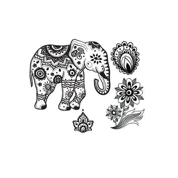 Indian elephant temporary tattoo set by stayathomegypsyshop, $7.50